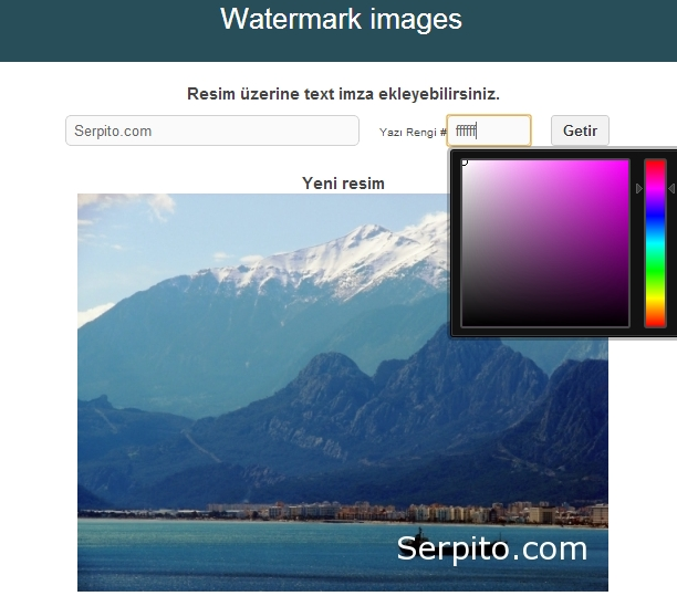 php watermark dinamik text imza